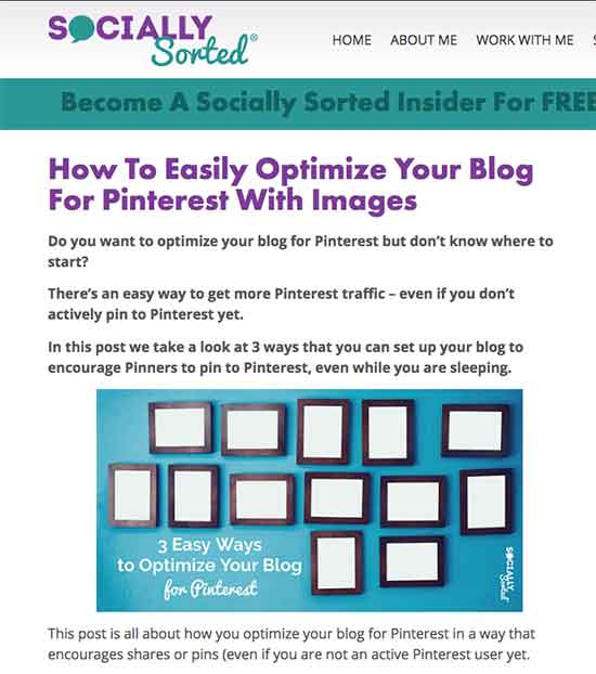 Example title image on Socially Sorted - to optimize your blog for pinterest