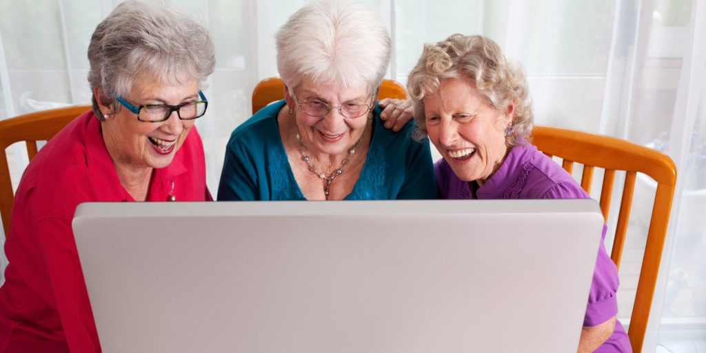 Elderly women enjoying online content.