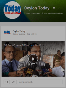 Google Plus page of Ceylon Today.