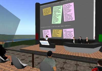 Virtual Reality Vortrag einer Referentin mit Publikum