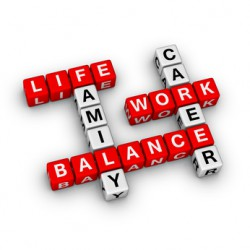 Scrabble mit den Wörtern Life, Family, Balance, Work, Career - Work-Life-Balance der Generation Y