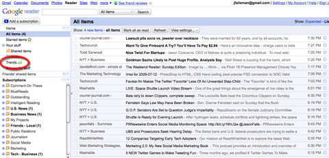Google Reader with Trends Highlighted