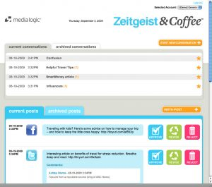 A Zeitgeits & Coffee Dashboard view featuring Facebook and Twitter posts for internal and client review. (Click for larger image.)