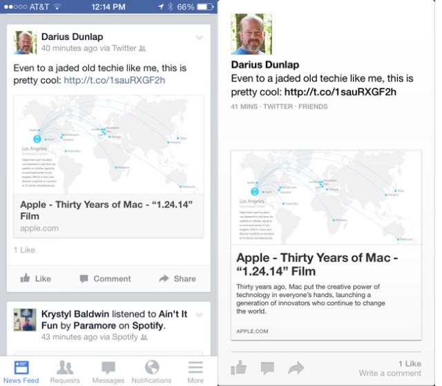 Facebook's Paper versus mobile app design