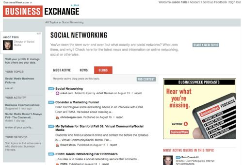 A sneak peak at the BusinessWeek Business Exchange interface