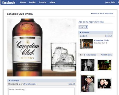 Canadian Club's Brand Page on Facebook
