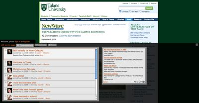 LiveBar Screenshot on the Tulane website