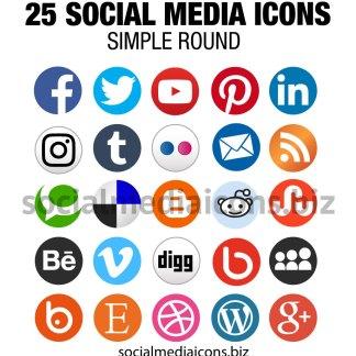 Round Social Media Icons - Basic icon set