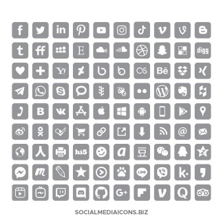 Rounded square ultimate gray social media icons