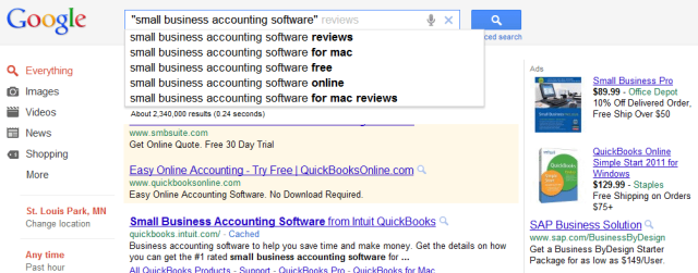 Google search accounting software