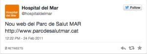 Hospital de Mar primer tweet