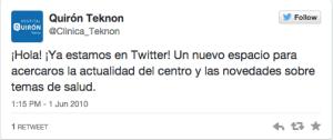 Quiron Teknon Primer Tweet