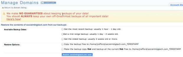 If you don't have backups, you're crazy.