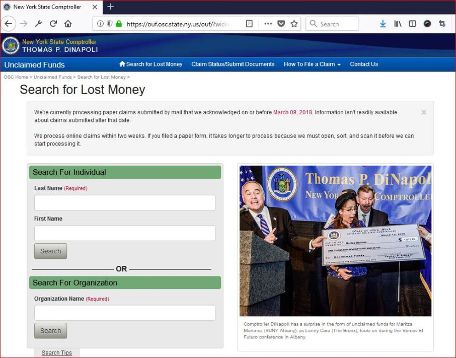 Search for Lost Money in New York State