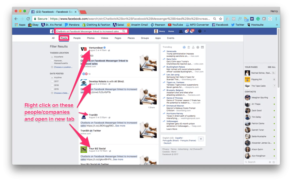 Search for the relevant article on Facebook.