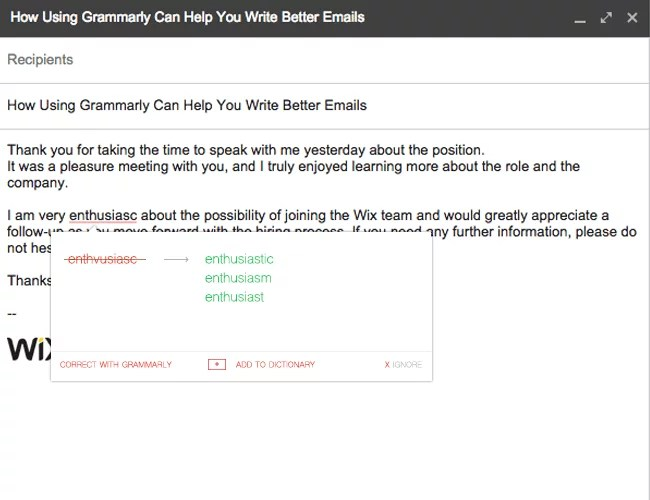 Grammarly example in Gmail
