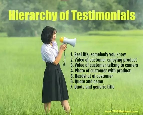 Hierarchy of testimonials