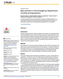"PLoS ONE (2018) —Adam Brown, ""Bad Manners in the Emergency Department: Incivility Among Doctors"""