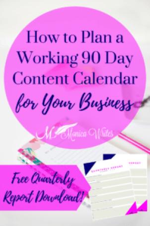90 Day Content Calendar