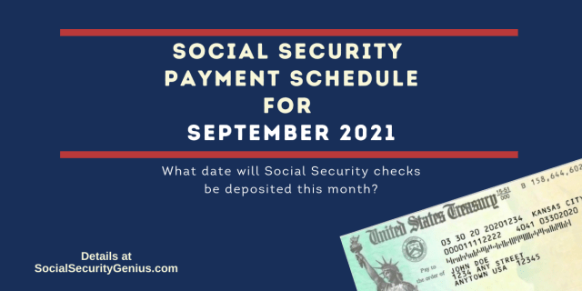 """""""September 2021 Direct Deposit dates for Social Security Benefit Payments"""""""