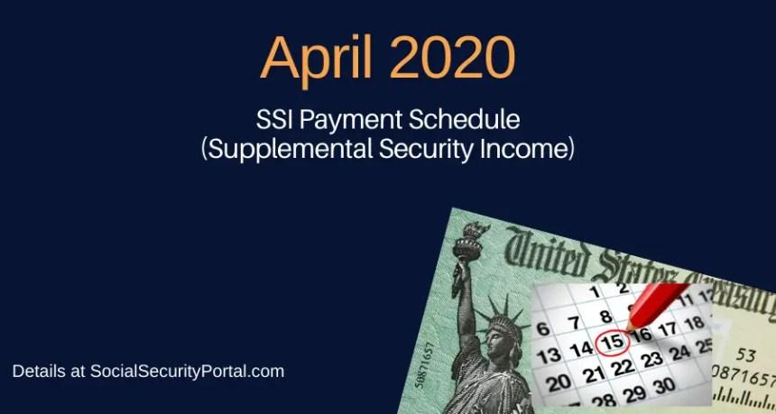 """""""April 2020 SSI Payment Calendar"""""""