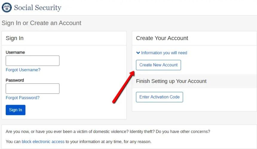Create New mySocialSecurity Account