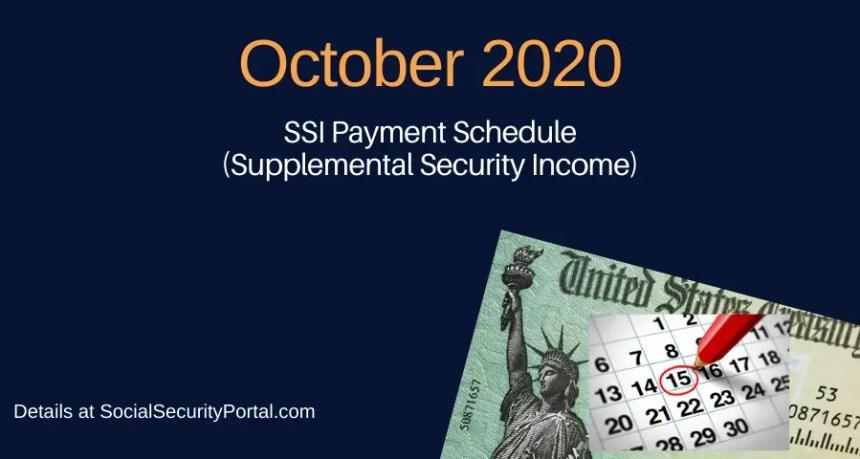 """October 2020 SSI Payment Calendar"""