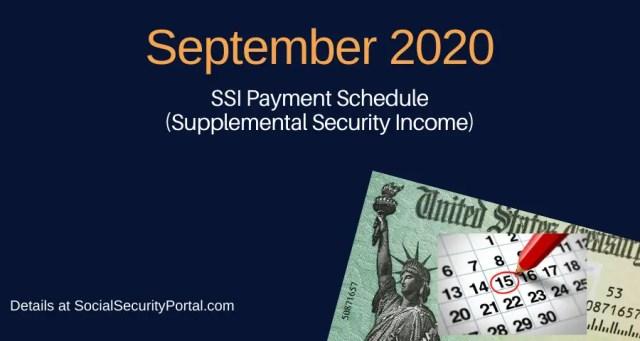 """""""September 2020 SSI Payment Calendar"""""""