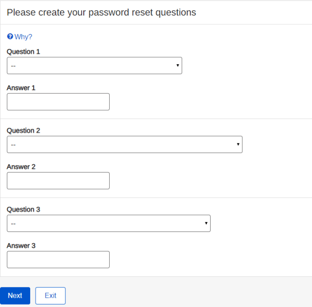 Set up your Password Reset Questions