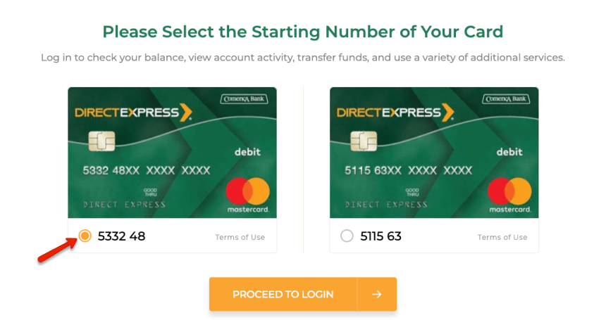 """Change Direct Express password"""