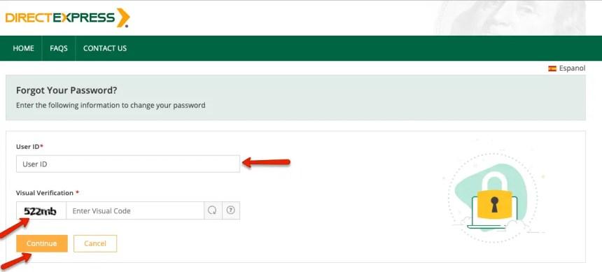 """Direct Express forgot User ID"""