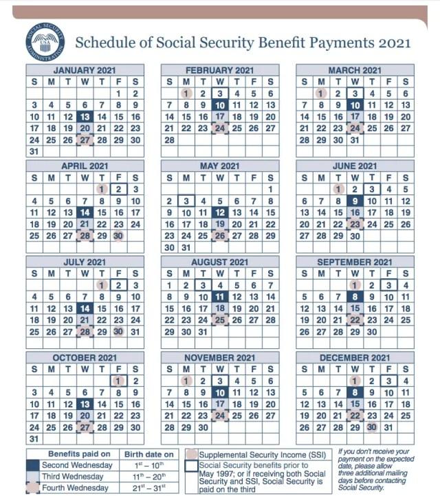 """""""2021 Social Security Payment Calendar"""""""