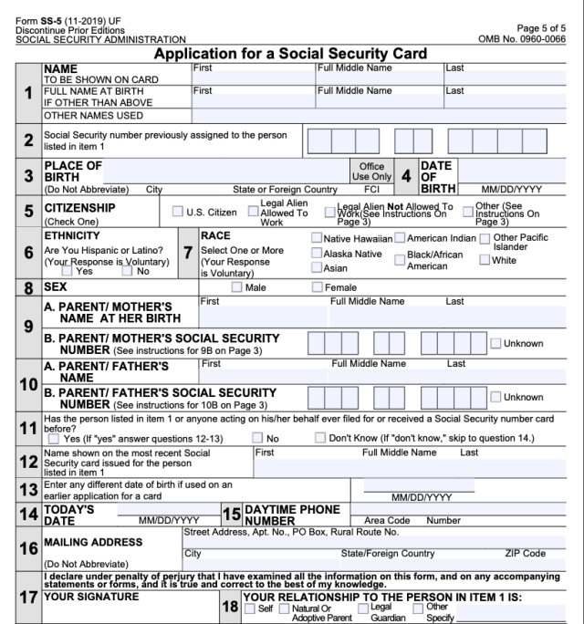 """""""Application for Social Security Card form SS-5"""""""