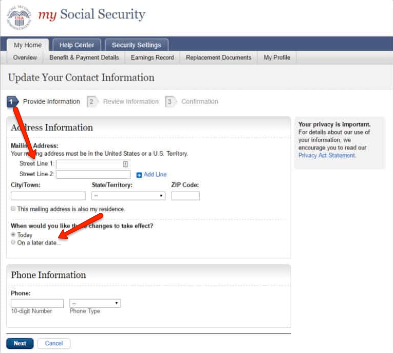 """social security change of address 6"""