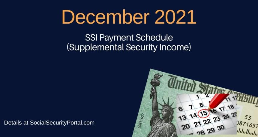 """""""December 2021 SSI Payment Calendar"""""""