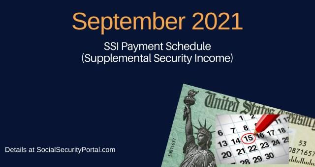 """""""September 2021 SSI Payment Calendar"""""""