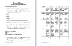 Rap and Dance Activity with Rubric
