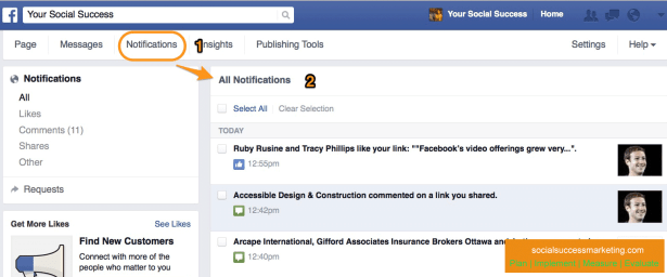 Facebook Notifications Tab