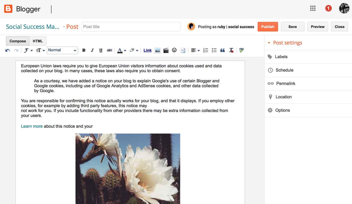 blogger platform for blogging