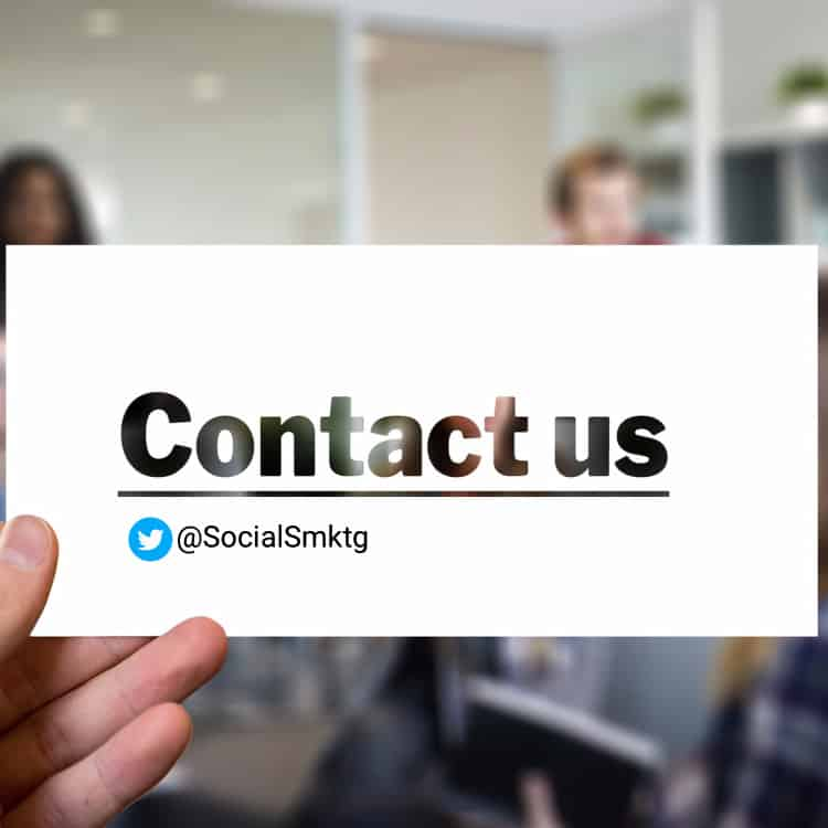 business card with Twitter username