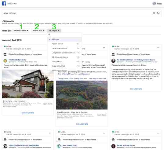 facebook ad library by topic