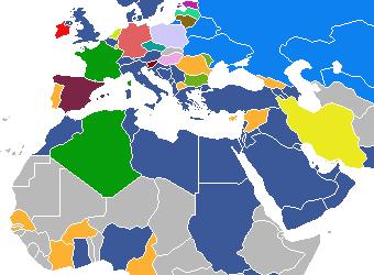 Map of most popular social networks - October 2008