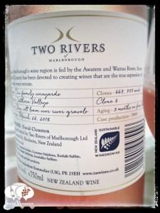2015 Two Rivers L'ile de beaute rose, marlborough wine bottle back label social vignerons small
