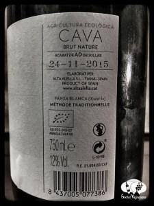 2014 Alta Alella Bruant Organic Cava Brut Nature Sparkling wine back label Catalunya