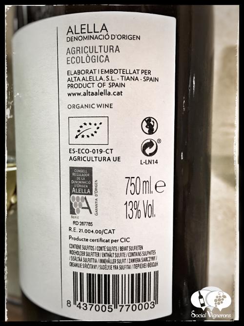 2014 Alta Alella Lanius winery white wine back label bottle social vignerons small