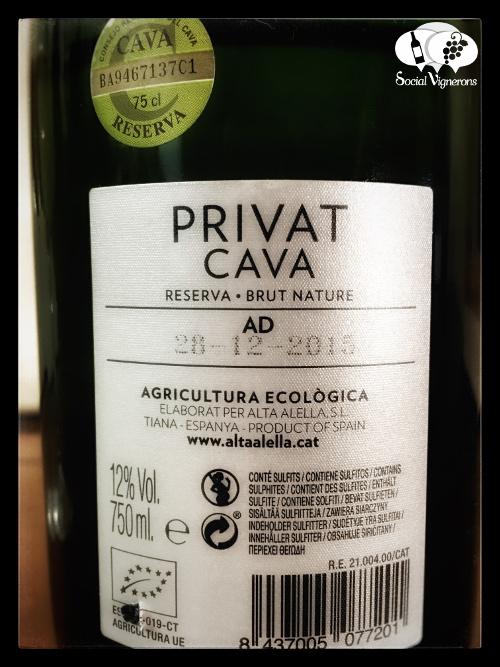 Alta Alella Privat Organic Cava Sparkling Wine Catalonia Spain back label Social Vignerons small