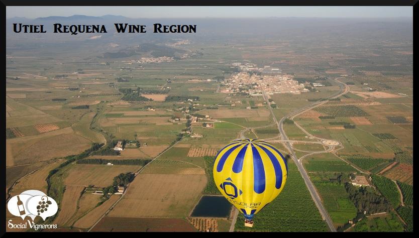 Ballon flying over the Utiel-Requena WIne Region of Spain