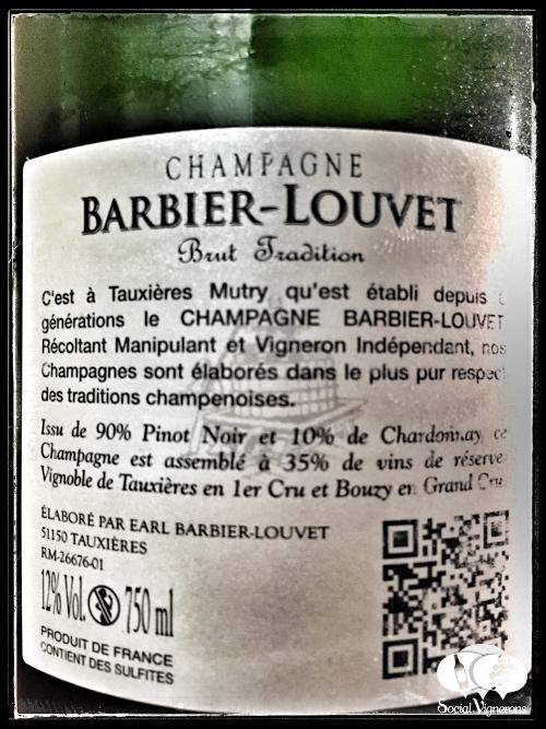 Champagne Barbier-Louvet Brut Tradition Premier Cru Non Vintage wine bottle back label social Vignerons small