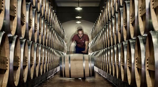 La Rioja Alta Cooper rolling wine barrel bodega winery social Vignerons