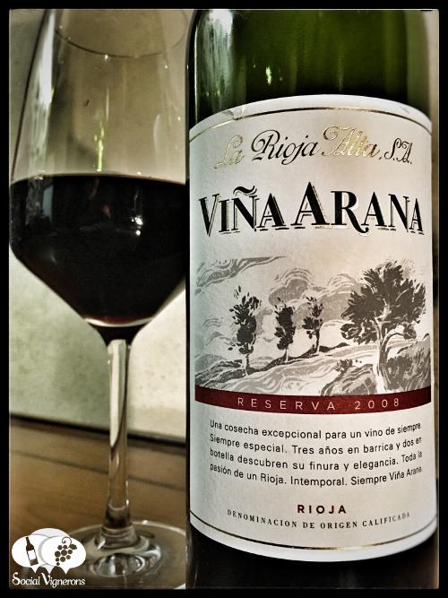 2008 La Rioja Alta SA Vina Arana Reserva Tempranillo bottle glass wine front label social vignerons small